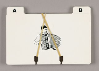 Twenty-six notched index cards, labeled A-Z, each letter accompanied by an icon, comprise this Rolodex (TM) set. The letters, in bold black type, are positioned alternately on left and right tabs at the top. The icons, centered, are in the style of line illustrations, as follows:  A, accordion; B, bicycle; C, chain saw; D, dart; E, ear; F, fez; G, globe; H, handcuffs; I, igloo; J, jeep; K, keys; L, lei; M, megaphone; N, nut; O, overalls; P, pipe; Q, queen (chess piece); R, refrigerator; S, sombrero; T, tepee; U, unicycle; V, Vest;  W, waffle iron; X, xylophone; Y, yin/yang; Z, zebra.