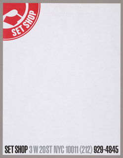Letterhead (a) - In the upper left-hand corner, in a red and white color scheme, a partial S in stencil-style type, positioned within a segment of a circle, is surrounded by a segment of a curved border, imprinted Set Shop. The whole represents a partial view of the company's logo, which consists of a complete stencilled S imprinted in an inner circle, surrounded by Set Shop, imprinted on the perimeter of the outer circle. Just above the bottom edge, imprinted in bold sans-serif capitals, is Set Shop (black), followed by the address (gray) and telephone number (black).  Envelope (b) - Reduced versions of the letterhead's red and white design, in the lower right-hand corner; and of the business name and address, in the upper left-hand corner, comprise the design.