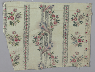 White taffeta ground with vertical stripes of flat silver brocade. Meandering stripes of floral designs both painted and woven.