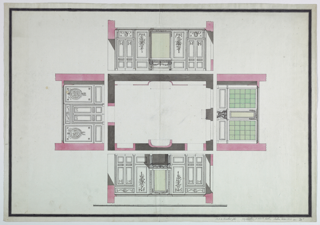 Elevation of four walls around the floor plan of a salon. Wall 1: fireplace; Wall 3: Windows; Wall 3: center door; wall 4: mirror flanked by pair of doors. Inscribed in pencil at lower margin: Style de Boucher fils - aquarelle XVIIIe siecle, salon Louis XVI - 30L; inscribed in pencil on verso: Dessin de XVIIIe s, interieur XVIIIe siecle - Guerinil - 7e