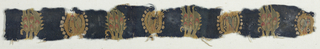 Fragment of what may have been an all-ver pattern on a dark blue background in teh Sassanian style. A group of three plants or trees in green, yellow, ivory, and red alternating with a small pearl roundel containing a standing bird in green, red, ivory, and dark blue on a yellow background.