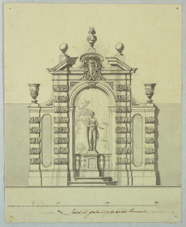 Elevation of garden architecture with statue of a youth within an archway. Above, a broken pediment with the Colonna family coat-of-arms: a crowned column.