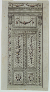 Drawing, Project for cast metal and colored folding doors, ca. 1785