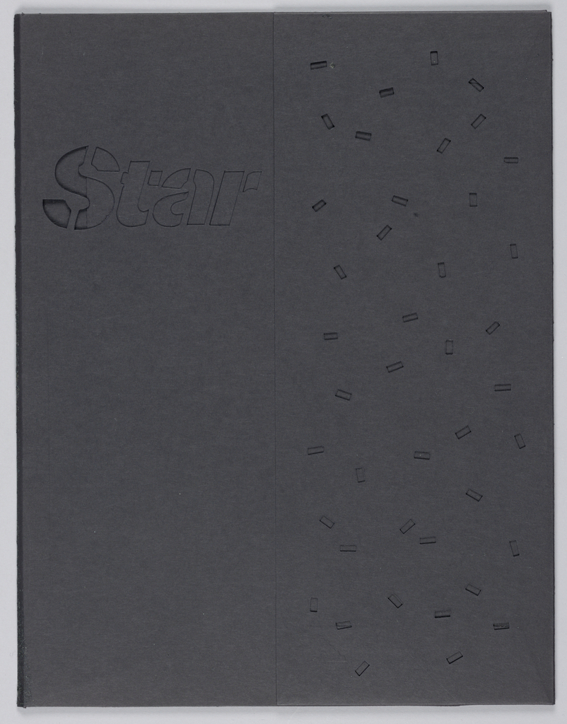 Recto: In the full width of the upper half, left, the company name, Star, is incised in stencil-style letters. A full length pocket, from mid-page to the right edge, is incised in an allover pattern of helter-skelter rectangles. With the folder closed, the incised format is designed to reveal the [now missing] contrasting inserts.  Inside: Pockets, incised with varying geometric shapes, are positioned on the diagonal in both the left and right halves. The reverse view of Star is visible on the upper right of the left half. An additional scallop-edge pocket, almost full-length and width, is positioned behind the diagonal pocket in the right half.