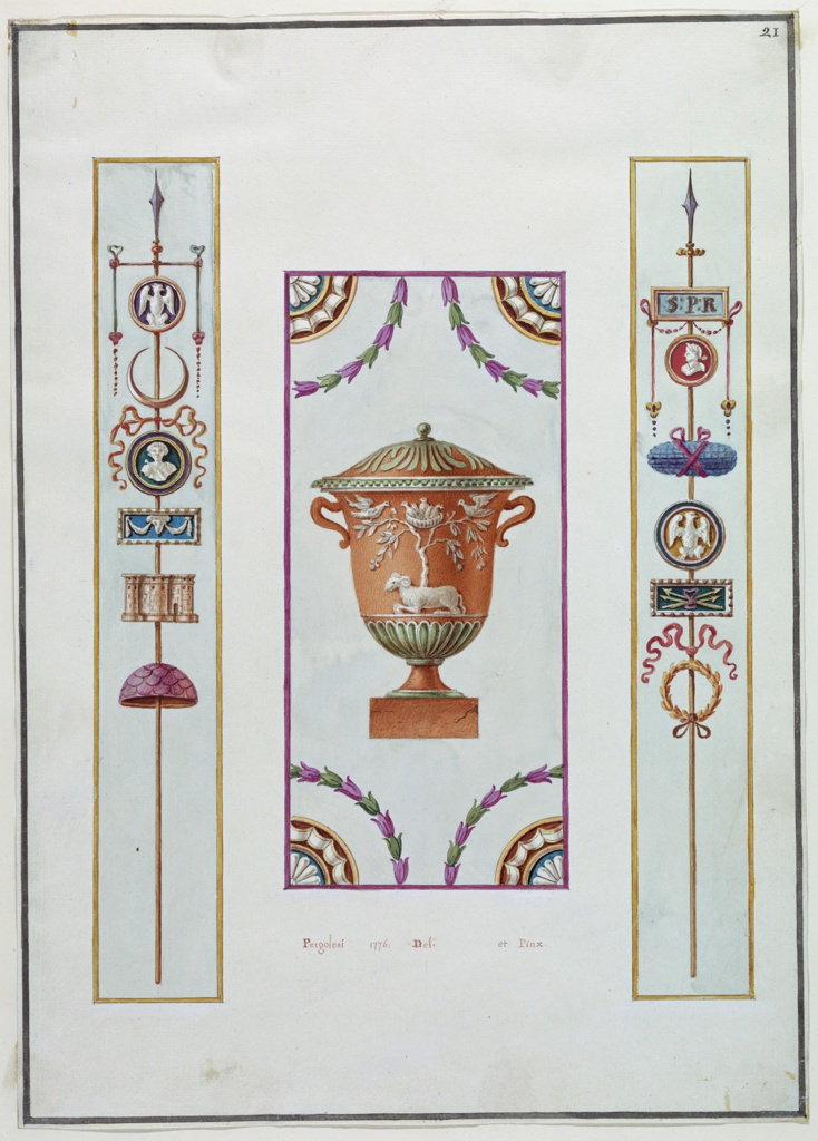 """Three wall panel decor: First panel: A steak with embellishments, at top a point; a cameo with a winged bird; upward crescent; cameo of a bust; cameo of scroll (?) with a garland; castle or group of columns; half a sphere. Second panel: An urn with a lid covered in foliage.  Central image of urn is a tree with a nest of birds and two other birds facing and at the foot of the tree is ram. Third panel: A steak with embellishments, at top a spear; a cameo with initials """"SPR""""; a cameo of a profile with red background; oval shaped objects tired with red ribbon; cameo of a winged bird; next a cameo of cross spears tied with a bow/ last a wreath of gold foliage."""