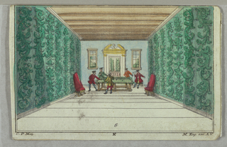 Interior of three rooms, furniture and costumes of the times. Men and women engaged in drinking coffee, smoking, and gaming.