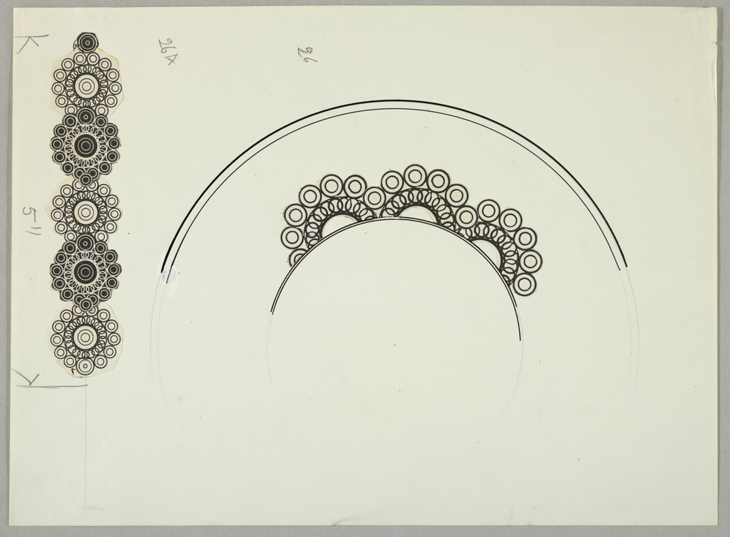 Plate design with well border made up of scallops that are composed of circles; below five circle variations.