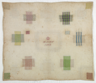 Eleven squares of pattern darning, one inset corner, an inset patch in the center with crowned initials and date.