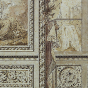 A design for a wall.  The central panel (tapestry) features three Fates spinning the thread of life.  Above them, a putto holds a crowned monogram, which may contain the initials of the Chateau de Craon's owner, the Marquis d'Armaille. This decorative central panel is flanked by two draped windows, through which can be seen a romantic landscape with classical temples. Beneath the windows are circular medallions with lyres and torches. Below the tapestry and on the window frames are located carved ornaments.