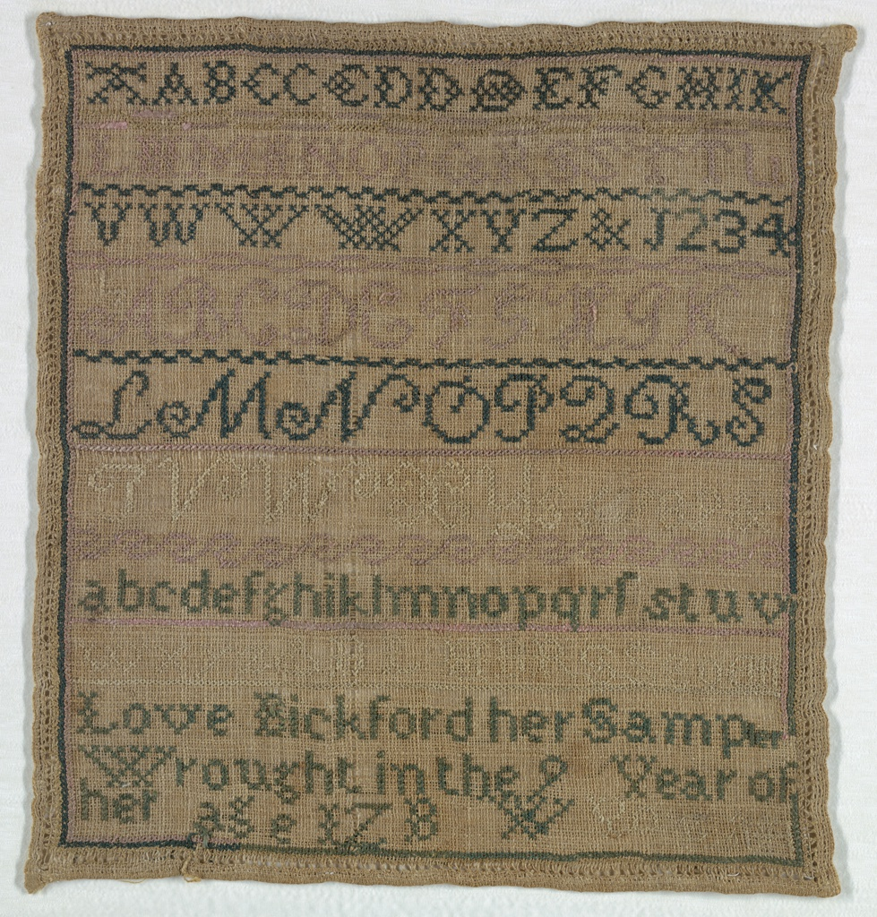 """Three alphabets, two upper case and one lower case, all without the letter """"J"""", ampersand, numerals and assorted trial letters, and the inscription:  Love Bickford her sampler wrought in the 9 year of her age"""