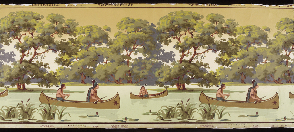 "Repeating design of stream with canoes carrying Indians, some carrying rifles, some fishing. Trees form a band in the background. Top margin stamped: Antiseptic Pat'd 8-9-04, and Wm. Campbell-Wall-Paper-Co., with color register marks. Bottom margin stamped: The Oritani, Aegli Desgr, 5015. Printed in greens, red and browns, the trees in ""a"" largely green, and those in ""b"" in brown."