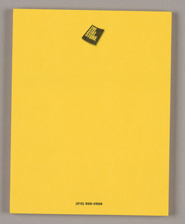 Bright orange-tinged yellow paper is bound in a pad and imprinted with the company logo: on a black diagonally placed rectangular field, the upper and lower edges concave, The/ Stat/ Store is imprinted in the background color, with the type lines emulating the curves. The gray shadows on the right and lower edges suggest that the edges of a book are being riffled. The company's telephone number on one line of type just above the bottom edge completes the design.