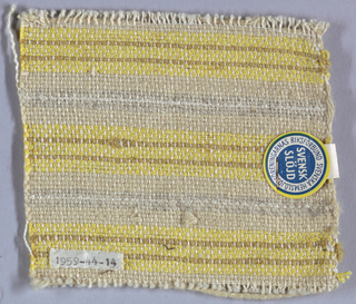 White cotton warp and wool weft in stripes of yellow and cream.