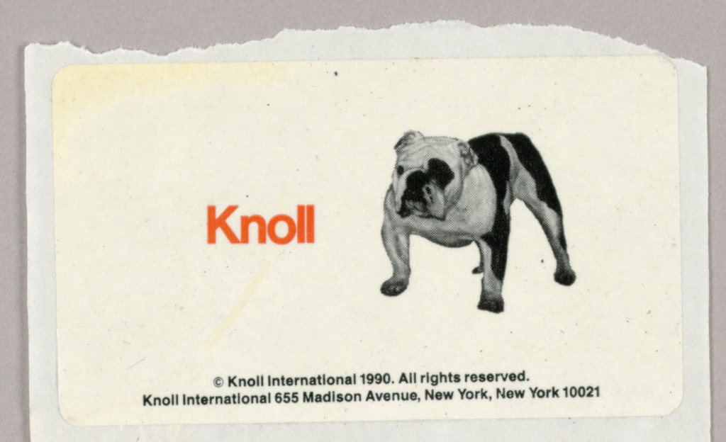 A black-and-white photographic reproduction of a standing bulldog (TM) in the right half is accompanied by Knoll, imprinted in red, to the left. The company name and address are imprinted in miniscule type on two lines close to the bottom edge.