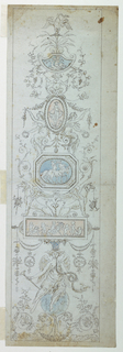 Vertical panel with candelabrum motif. At center is a blue oval with centaurs, within an octagonal frame. At top, a swan.