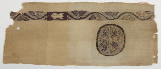 Fragment of plain woven linen with in-woven tapestry band and medallion. All very finely and evenly woven. Embroidery along top and a series of multiple picks carried at a time to form ridges near top of fabric. Band: dark brown serpentine set against brown background hatched with natural. In curves, pairs of brown leaves, centers defined by soumak. At one-third length of band a panel containing an undyed bud against a brown ground. Medallion contains two figures, the one at left in short spotted garment - Roman military dress, embroidered at one side of his garment. The one at right holds an owl (Athens). Figures in brown, defined by soumak against same kind of hatched ground. The eyes of these figures are very large and striking because of area of undyed tabby used for the whites. Plain brown outer border defined at edge by soumak. The hatching of the ground in this textile is done in the proper Greek way, by alternate shots of dark and light thread.