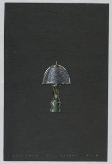 Drawing, Table lamp with green and
