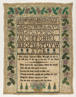 Rectangular sampler worked in black, purples and greens on a natural ground. Three alphabets, a set of numerals, a signature and a verse are surrounded on three sides by a wide grapevine border. At the bottom, a basket of grapes and four trees. The inscription reads: Ellen Maria Odiorne's Work Wrought by her in the 10th year of her age in the year of out Lord 1822  The verse reads:  How various her employment whom the world Calls idle and who justly in return Esteems that busy world an idler too Friends, books, her needle and perhaps her pen Delightful industry enjoyed at home Can she want occupation who has these?