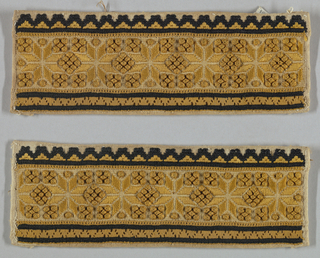 Rectangular with a repeating design of eight-pointed stars.
