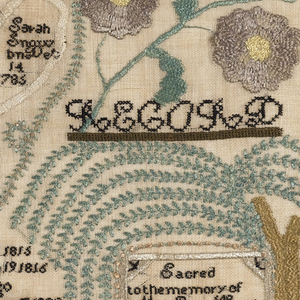 """A square sampler worked in black, brown, purple, green, beige and pink on a natural ground. At the top four alphabets are worked in black. At the bottom are a house, trees and flowers, and a mourning plaque beneath a willow tree. In the center, three interlocking hearts indicate that the embroiderer's father had had two wives, both of whom were now dead. The hearts are flanked by flowering branches and a verse, and the names and birthdates of the children are embroidered below. In the top left heart: Reuben Hunt bn Jan11 1783 In the top right heart:  Eliza Taft bn June 27 1788 Sarah Snow bn dec 14 1785"""" In the bottom heart:  Married to E T Oct 27 1814 to SS March 10 1819 Beneath the hearts:  Eliza A Hunt bn Sep 20 1815 Reuben Hunt Jr bn Dec 19 1816 Sarah Hunt bn feb 8 1820 Martha A Hunt bn Nov 7 1822  The tomb reads:  Sacred to the memory of  Mrs Eliza Hunt who died Jan 6 1817 Mrs Sarah Hunt  died Sep 28 1823  The verse:  Jesus permit thy gracious name to stand As the first efforts of an infant's hand And while her fingers o'er this canvas move Enlist her tender heart to seek they love With thy dear children let her share a part And write thy name they self upon her heart  Wrought by Eliza Ann Hunt aged nine years 1824"""