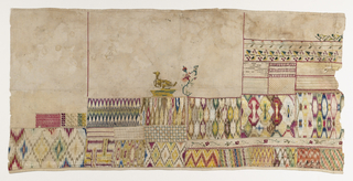 Unfinished horizontal sampler embroidered in vivid colors. The lower half is predominantly bands of flame and geometric patterns. The upper half has some small-scale floral borders and an unfinished bird on a nest.