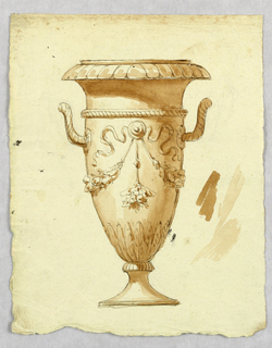Tall footed vase with twisted handles decorated with garlands and ribbons.