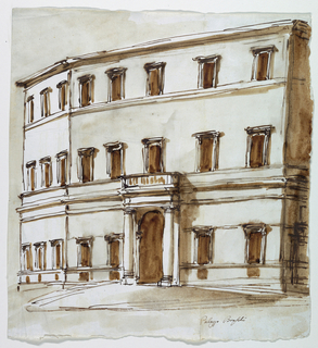 Drawing, Facade of the Palazzo Braschi, Rome