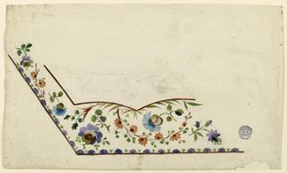 Lower left section of a waistcoat. Below the pocket short flower sprays, and leaf motifs. Flower and alternating leaf motif along border. Flower design on pocket indicated in outline.