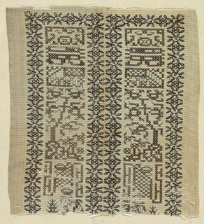 Fragment of gauze with black geometric embroidery surrounded by  narrow floral bands.