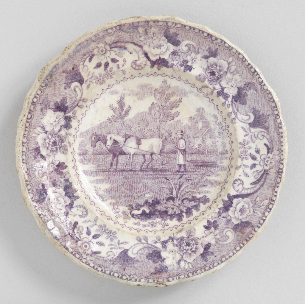 Marli with wavy edge. Mauve transfer print of horses pulling rake, in flower and scroll framing.