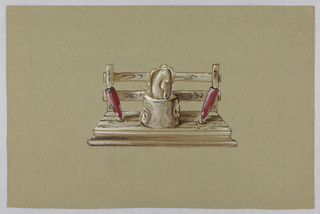Stand with maroon pen holders flanking a stump with a horse's head; backing is a wooden fence.