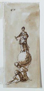 Drawing, Figure on top of globe supported by Atlas