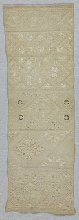 Bands of pattern in whitework.