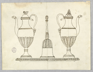 Calyxes decorate the bodies of the tankards and the body and handle of the bell. Snakes form the handles of the tankards, which show lion heads at the ends of the spouts. A shell is on top of the cover of the tankard at left, a bunch of grapes at right.