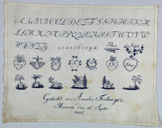 "Alphabets, numerals and wreaths with initials, names and memorial pieces and the inscription ""Gestickt von Amalie Forberger, Meissen, den 16, Sept br 1806.""  (Embroidery of Amalie Forberger, Meissen, 16 September 1806."
