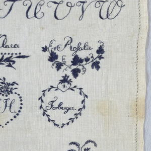 """Alphabets, numerals and wreaths with initials, names and memorial pieces and the inscription """"Gestickt von Amalie Forberger, Meissen, den 16, Sept br 1806.""""  (Embroidery of Amalie Forberger, Meissen, 16 September 1806."""