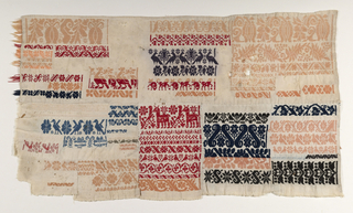 Patchwork of six samplers in which running stitch embroidery imitates woven pattern. Worked in blue, green, yellow, beige, red, and pink threads.