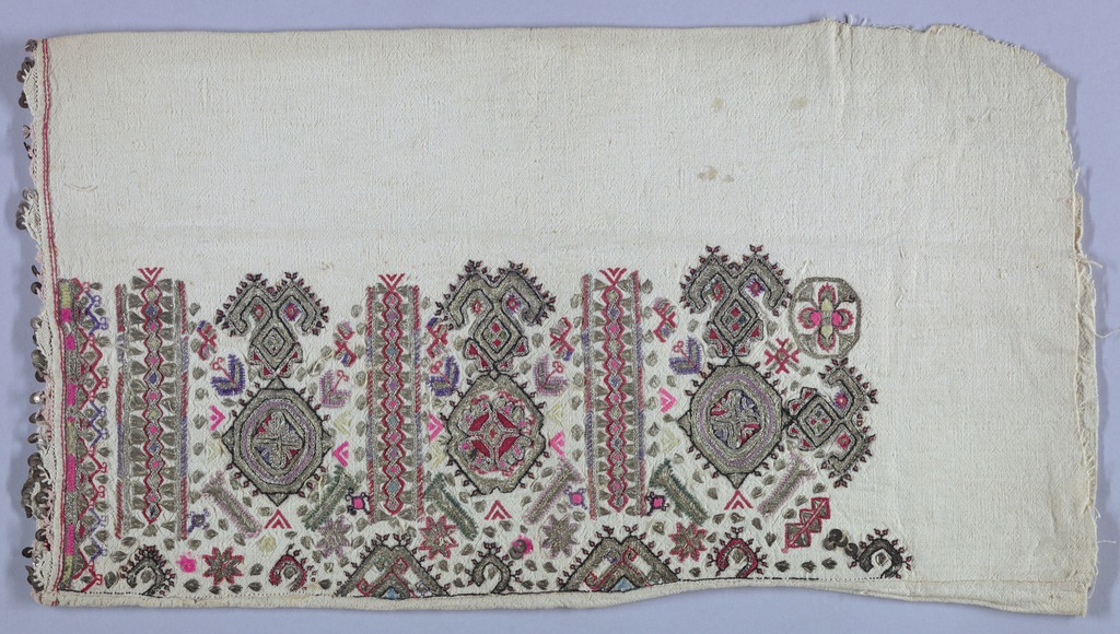 Sleeves of heavy cotton embroidered in repeat pattern of highly stylized medallions, plant and geometric forms. Worked with silver thread, pink, lavender and citron wool, and red, purple and green cotton. Pailettes are attached to the crocheted edges of the sleeves.
