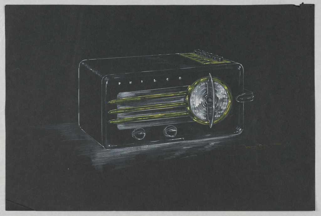 Design for Philco radio with rectangular case and rounded corners. Large circular dial with numbers on front, speaker grate at left, two knobs below, Philco branding at upper left. On top of radio, six small buttons in row. Handle for radio at right.