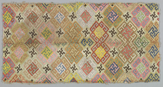 Allover fret forming tangent geometric medallions in multicolored silk in form of Florentine stitch on undyed silk leno ground. Sleeve bands are joined down one long side to make rectangular panel.