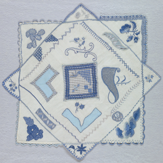Embroidery and open work patterns in shades of blue in a square within a square arrangement.