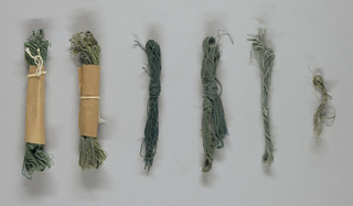 Six skeins of yarn in various shades of green. Yarn purchased from a Scottish supplier and dyed by members of the Society.