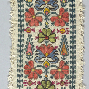 Design of conventionalized floral forms arranged as band or border. Embroidered in red, orange, pink, green, yellow, and brown silk and gold thread. Enclosed by a dark green border.