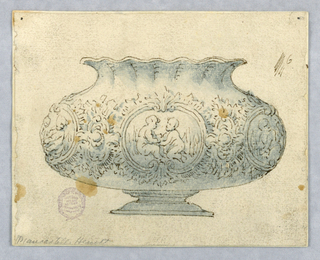 Elevation of a footed bowl. Wide body decorated with round cartouches showing pairs of putti. These are enclosed with pairs of volutes. Between these are florals. Undulating lip.