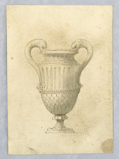 Vertical rectangle showing a footed vase dolphin handles.