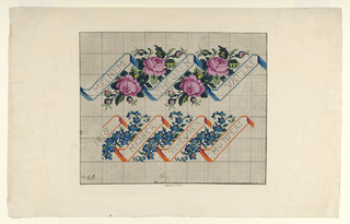 Design for embroidery with distinctive slanted ribbon like components which contain the lettering. Additionally adorned with blue and pink flowers and buds. Drawn on a grid.