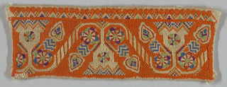 Rectangular panel of repeating cup-shaped flowers flanked by heart-shaped leaves. The floral motifs are connected by diagonally striped bars. Embroidered in blue, green, cerise and cream wool and silk on a predominantly orange embroidered ground.