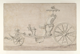 An elaborate four wheeled open carriage designed in the Rococo style is shown in side view facing left. The seat, adorned with small portrait busts and rocaille is topped by a  small parasol.