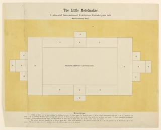 Footprint on which the assembled cut outs of Horticultural Hall from the 1876 Philadelphia Centennial Exhibition are to be placed.