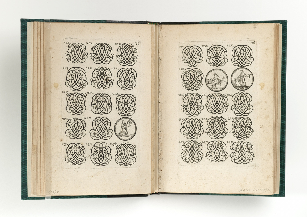 "Book of 153 pages of ornamental monogrames and some medallions. In addition, 16 plates of ""Supports and Chimiera"" for ornaments on armor: the 17th plate is bound in as a frontispiece. The ""table"" follows with the Forward placed last."